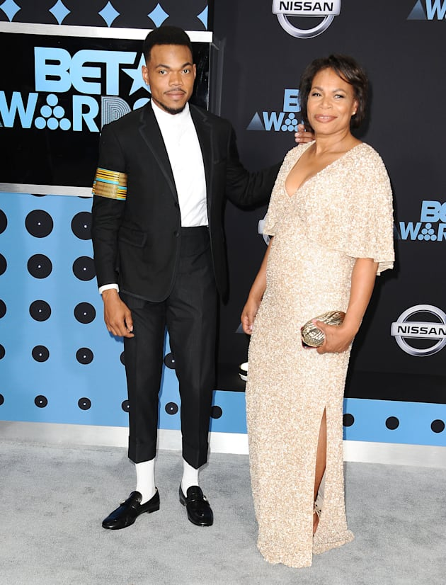 Chance The Rapper and his mother Lisa Bennett attend the 2017 BET Awards at Microsoft Theater on June...
