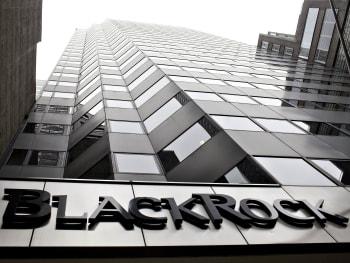 A BlackRock logo hangs above the entrance to the BlackRock I