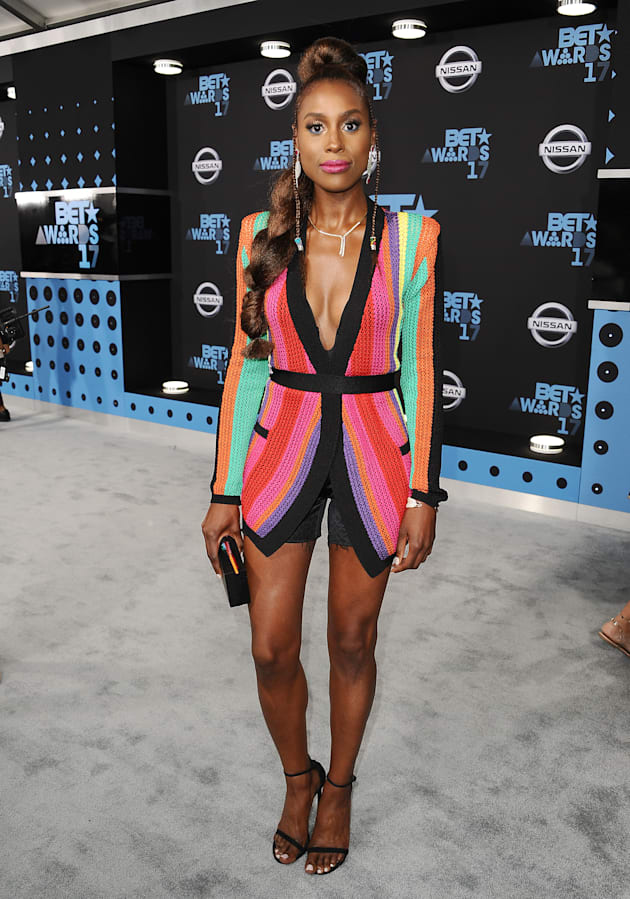 Actress Issa Rae attends the 2017 BET Awards at Microsoft Theater on June 25, 2017 in Los Angeles, California....