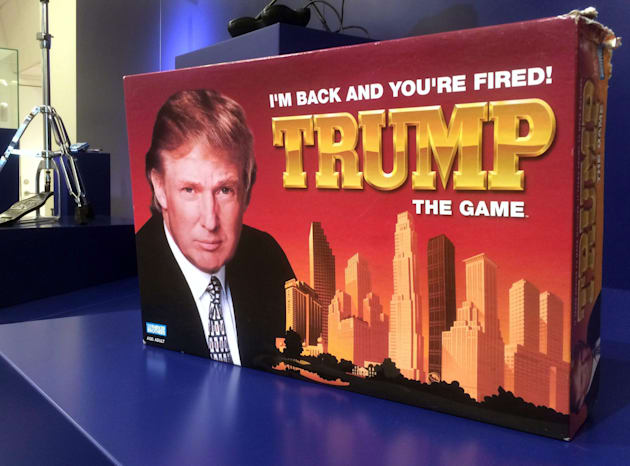 """In this photo taken on Thursday, June 1, 2017, the board game """"Trump: I'm Back And You're Fired""""..."""