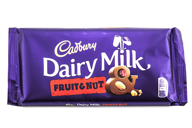 SWINDON, UK - FEBRUARY 8, 2014: Bar of Cadburys Dairy Milk Fruit and Nut chocolate