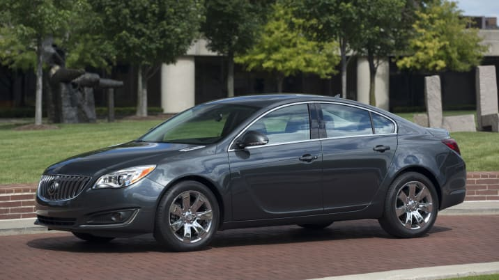 "2016 Buick Regal in Ashen Gray exterior color and equipped with 18"" wheels, sunroof and driver confidence page l and ll."