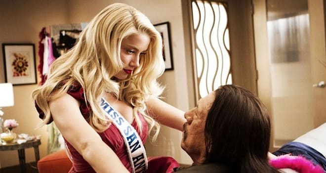MACHETE KILLS 2013 Open Road Films production with Amber Heard as Miss San Antonio and Danny Trejo as Machete Cortez