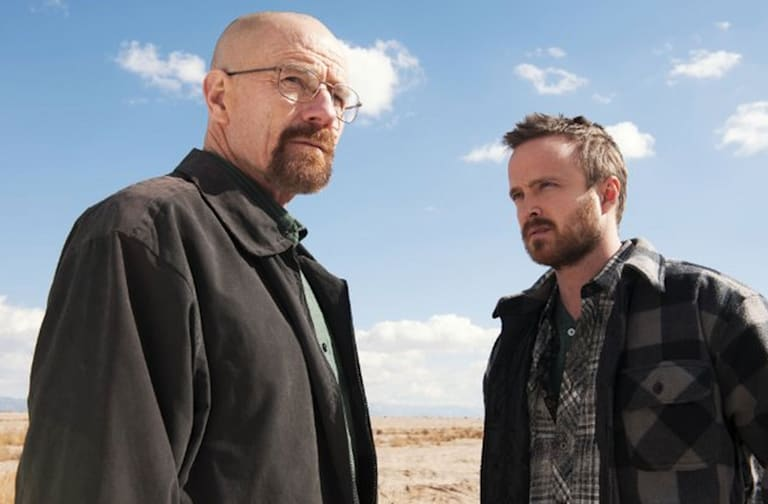 DH5MAT BREAKING BAD  High Bridge,Gran Via Productions, Sony Pictures Television series with Bryan Cranston at left and Aaron Paul