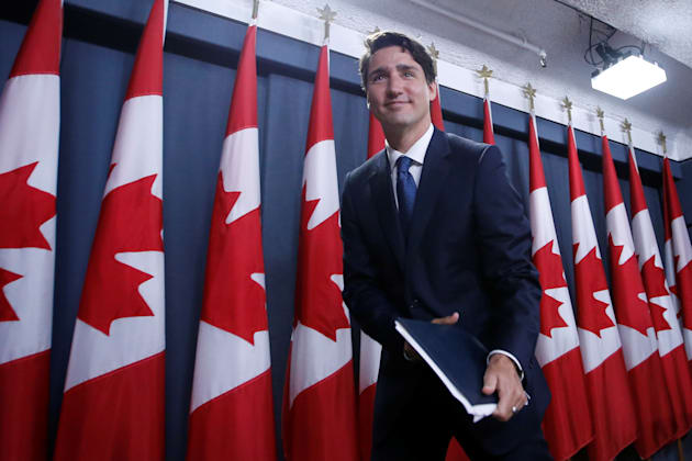 Prime Minister Justin Trudeau leaves at the conclusion of a news conference in Ottawa on June 27,