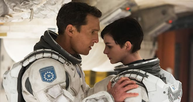 This photo released by Paramount Pictures shows, Matthew McConaughey, left, and Anne Hathaway, in a scene from the film, '