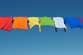 rainbow laundry. bright shirts...