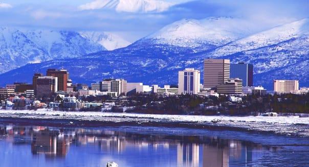 Anchorage Alaska downtown skyline.