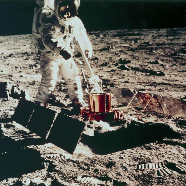 Apollo 11 astronaut Edwin �Buzz� Aldrin on the Moon, 1969.