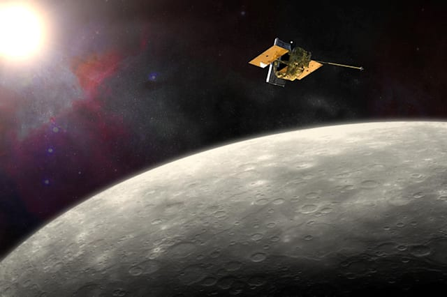 Undated NASA handout photo of an artist�s impression of the Messenger probe orbiting Mercury as the American spacecraft is due to smash into the planet after running out of fuel, bringing a dramatic end to its four year mission. PRESS ASSOCIATION Photo. Issue date: Thursday April 30, 2015. The Messenger probe launched in 2004 has gathered a wealth of scientific data since it began orbiting the planet on March 18, 2011. It has also beamed back stunning images of the heavily cratered scorched world, the smallest and closest planet to the sun where daytime temperatures can reach 427C. The 500 kilogram spacecraft is set to plunge onto the planet's surface at 8,750 miles per hours, creating a sizeable crater of its own. But the impact will be an anticlimax for observers from Earth, since it will occur on the far side of the planet. The American space agency Nasa will only be able to confirm that the crash has taken place when the probe fails to appear from behind the planet hours later. See PA story SCIENCE Messenger. Photo credit should read: JHU APL/Carnegie Institution of Washington/NASA/PA WireNOTE TO EDITORS: This handout photo may only be used in for editorial reporting purposes for the contemporaneous illustration of events, things or the people in the image or facts mentioned in the caption. Reuse of the picture may require further permission from the copyright holder.