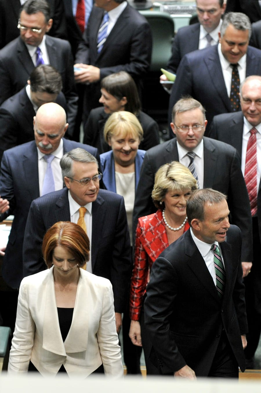 The opening of the 43rd parliament, in September 2010. In the foreground are then-Prime Minister Gillard...