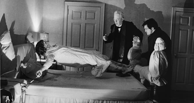 Linda Blair, Max von Sydow and Jason Miller in a scene from the 1973 film