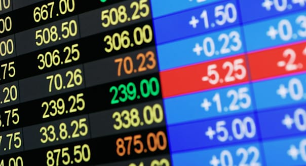 BC2AHJ Stock Market Price Quotes Display stock market ticker digital information board read out financial gains and losses