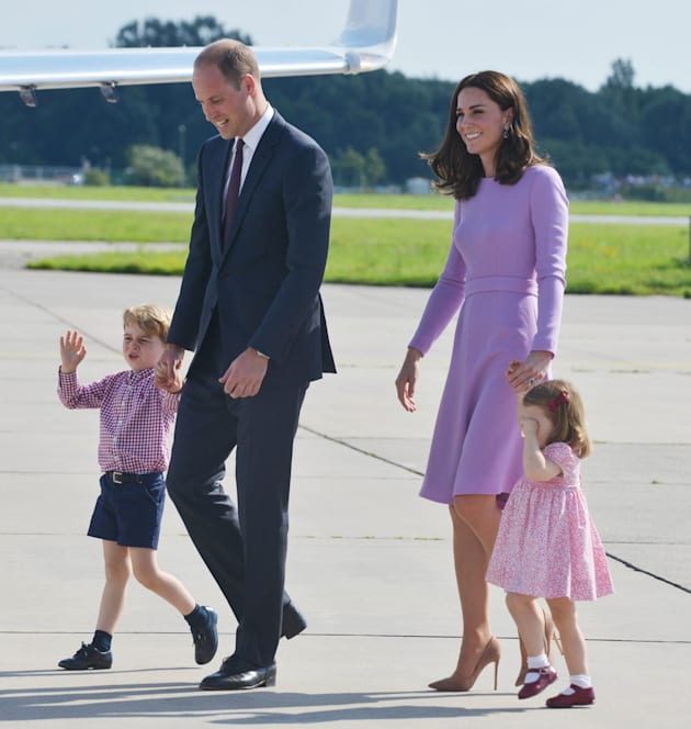 The Duke and Duchess of Cambridge and their children depart from Hamburg airport on the last day of their...