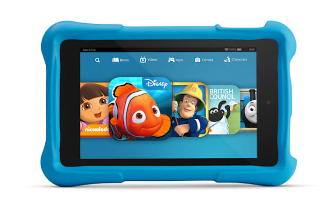 Undated handout photo issued by Amazon of their new Fire HD Kids Edition, a tablet aimed specifically at children, with content that can be entirely controlled by parents, which Amazon has launched. PRESS ASSOCIATION Photo. Issue date: Wednesday June 3, 2015. The tablet has gone on sale in the UK today starting at £119, and includes a two-year guarantee that means if anything happens to it, it can be traded in for free and replaced. See PA story TECHNOLOGY Amazon. Photo credit should read: Amazon/PA WireNOTE TO EDITORS: This handout photo may only be used in for editorial reporting purposes for the contemporaneous illustration of events, things or the people in the image or facts mentioned in the caption. Reuse of the picture may require further permission from the copyright holder.