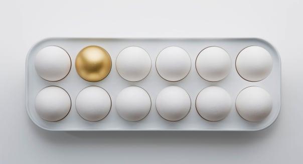 BDJM7X Dozen Eggs with One Golden Egg Retirement plan 401 (K) 401k business, white, background, concept, growth, gold, egg busin