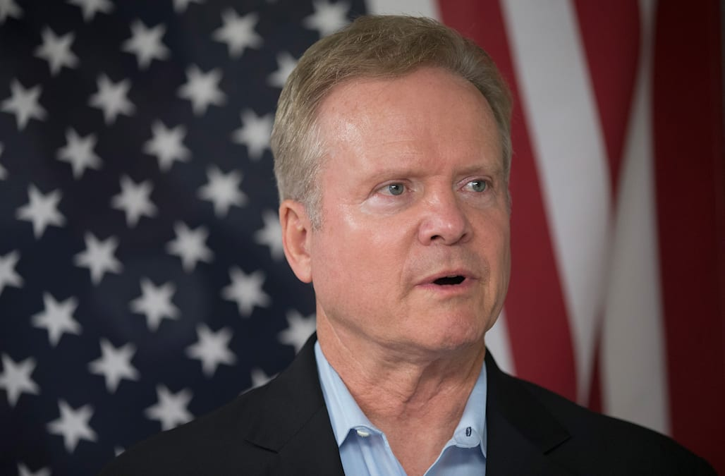 Potential Democratic Presidential Candidate Former Senator Jim Webb Appears In Iowa