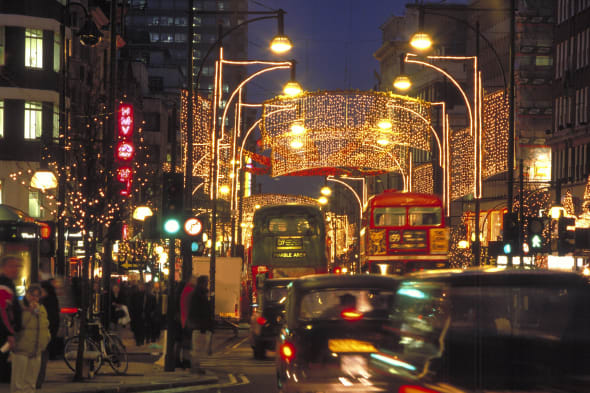 Oxford Street, Christmas Lights, West End, London, London, England.