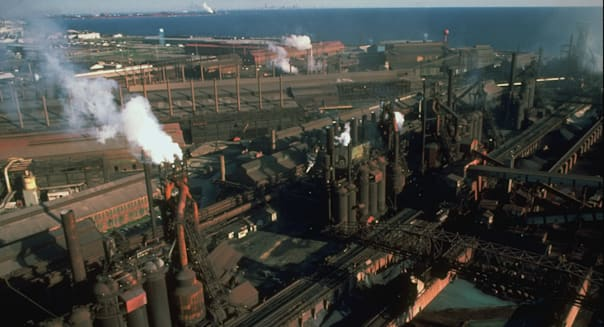Overview of grimy USX steel works facili