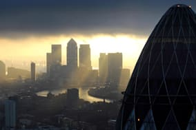 File photo dated 25/02/10 of the 'Gherkin' and Canary Wharf at sunrise in the City of London as the number of new jobs created in the City of London in January increased to 3,350, the highest for more than 18 months, according to a new report. PRESS ASSOCIATION Photo. Issue date: Monday February 3, 2014. Recruitment firm Astbury Marsden said the figure confirmed a strong trend of hiring in recent months. Chief operating officer Mark Cameron said: