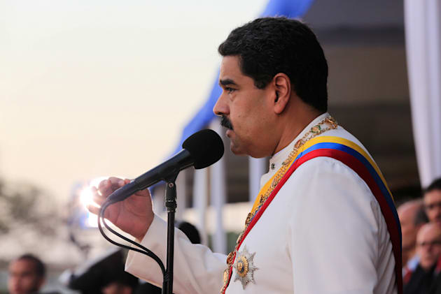 Venezuela's President Nicolas Maduro speaks during a ceremony to mark the birthday of the South American...