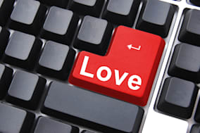 online love concept with colored button on computer keyboard