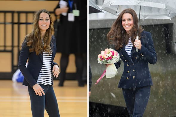 PA composite image of a file photo dated 18/10/2013 of the Duchess of Cambridge during a visit to the Copper Box at the former Olympic Park in east London (left) and the Duchess today in Auckland (right), showing her outfits, which are almost identical. PRESS ASSOCIATION Photo. Issue date: Friday April 11, 2014. See PA story ROYAL Tour Fashion. Photo credit should read: PA Wire