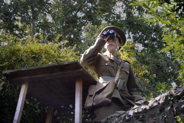 Boys create WW1 trench in garden