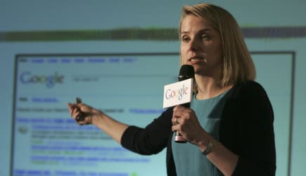 Taiwan Google (Google Inc. Vice President Marissa Mayer speaks to foreign and local media during a press conference  in Taipei,
