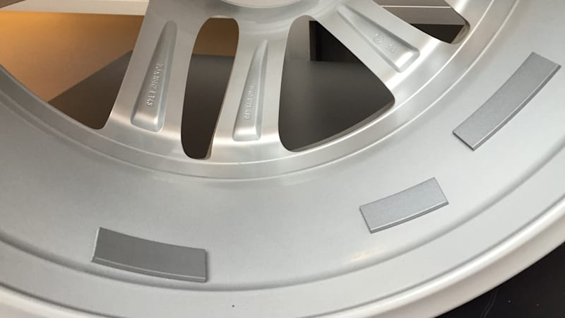Example of 3M wheel weight tape on an alloy wheel