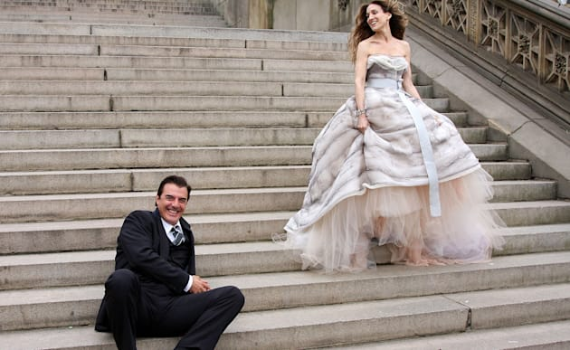 Actor Chris Noth and actress Sarah Jessica Parker on location for Annie Leibowitz's Vogue 'Sex and the...