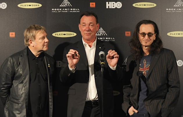 Alex Lifeson, Neil Peart and Geddy Lee of Rush at the 28th Annual Rock and Roll Hall of Fame Induction...