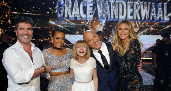 "AMERICA'S GOT TALENT -- ""Live Finale Results"" Episode 1123 -- Pictured: (l-r) Simon Cowell, Mel B, Grace VanderWaal, Howie Mandel, Heidi Klum -- (Photo by: Trae Patton/NBC)"