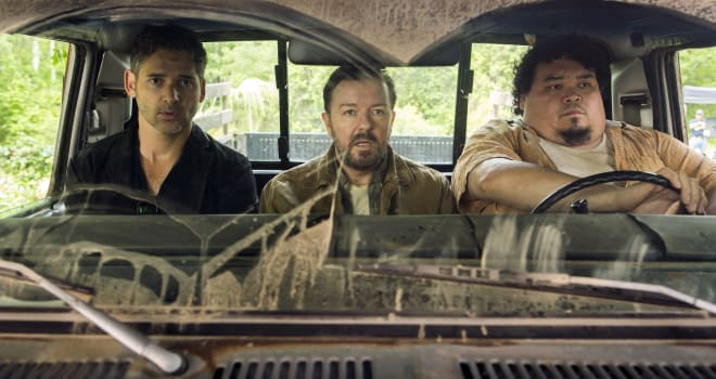 "Ricky Gervais and Eric Bana in Netflix's ""Special Correspondents"""