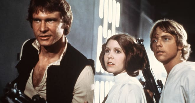 Harrison Ford, Carrie Fisher, and Mark Hamill in 'Star Wars'