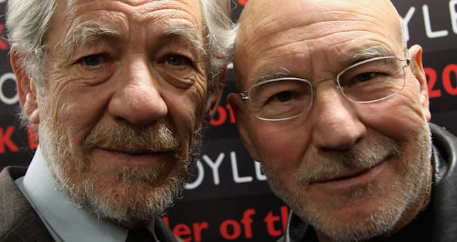 Sir Ian McKellen and Patrick Stewart Visit Foyles Bookshop on February 26, 2009