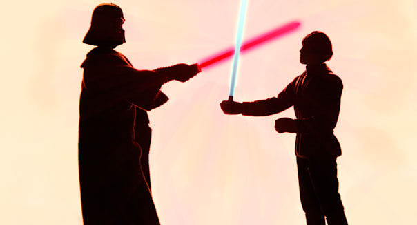 Darth Vader and Luke sky walker light saber battle