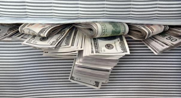 cash stashed for safe keeping...