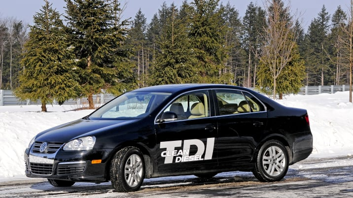 The Volkswagen Jetta TDI sits on a snowy road in Monticello,