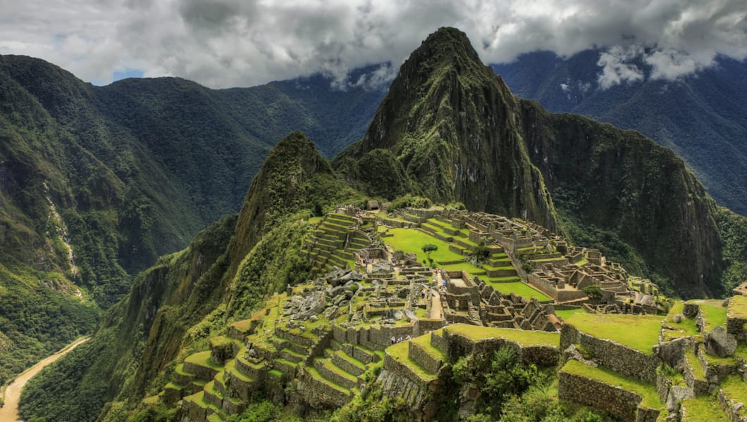 Back side of the ruins of Machu Picchu and the mountain of Huayna Picchu.  HDR image.