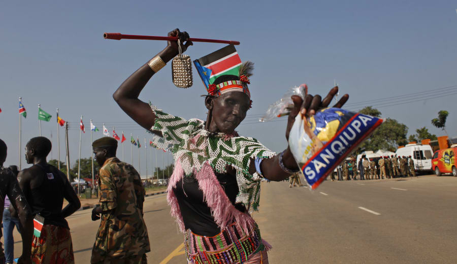 A dancer celebrates the third anniversary of South Sudan's independence in