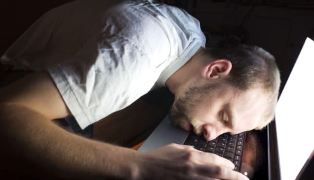 All Nighter - Man Asleep on Computer