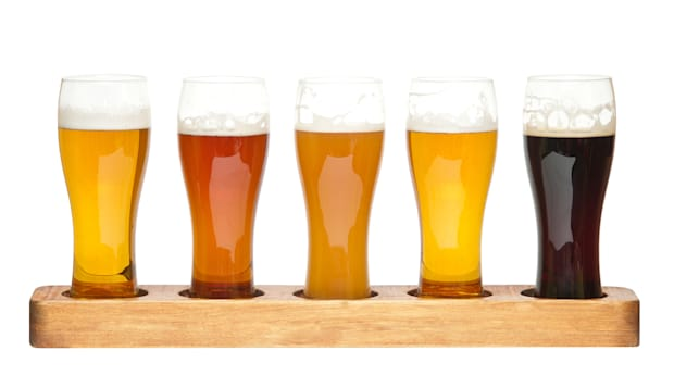 beer flight. different kinds of ...