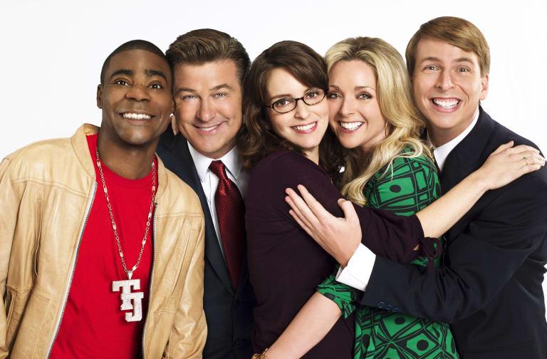 30 ROCK -- Season 2 -- Pictured: (l-r) Tracy Morgan, Alec Baldwin, Tina Fey, Jane Krakowski, Jack McBrayer -- Photo by: Mary Ellen Mathew/NBCU Photo Bank