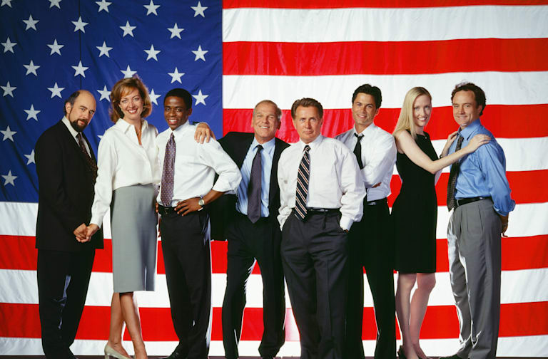 THE WEST WING -- Season 2 -- Pictured: (l-r) Richard Schiff as Toby Ziegler, Allison Janney as Claudida Jean 'C.J.' Cregg, Dule Hill as Charlie Young, John Spencer as Leo McGarry, Martin Sheen as President Josiah 'Jed' Bartlet, Rob Lowe as Sam Seaborn, Janel Maloney as Donna Moss, Bradley Whitford as Josh Lyman -- Photo by: NBCU Photo Bank