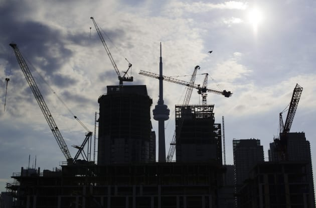 Condominiums are seen under construction in Toronto, July 10,