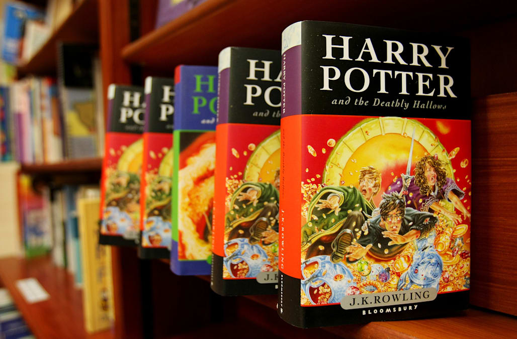 Harry Potter books by J.K. Rowling, published by Bloomsbury