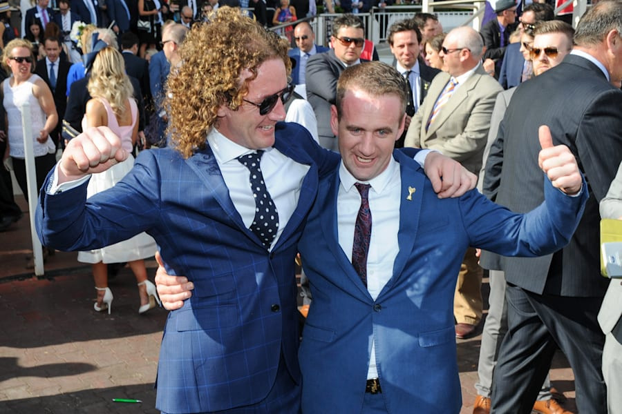 Ciaron Maher and his younger brother Declan after THAT Caulfield Cup