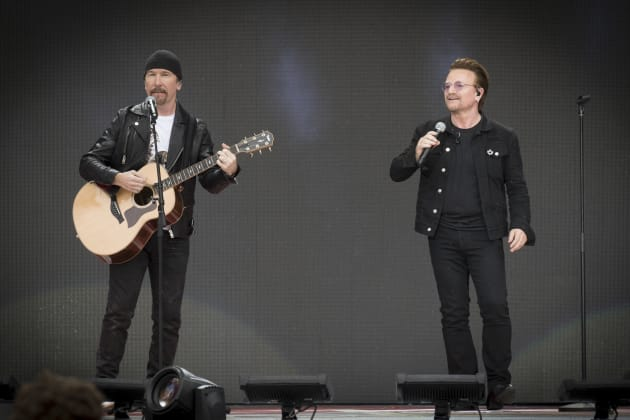 The Edge and Bono perform during Canada Day celebrations at Parliament Hill on July 1, 2017 in Ottawa,...