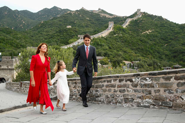 Prime Minister Justin Trudeau, his wife Sophie Gregoire and their daughter Ella-Grace visit the Great...